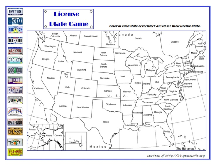 7 Images of Us Map License Plate Game Printable