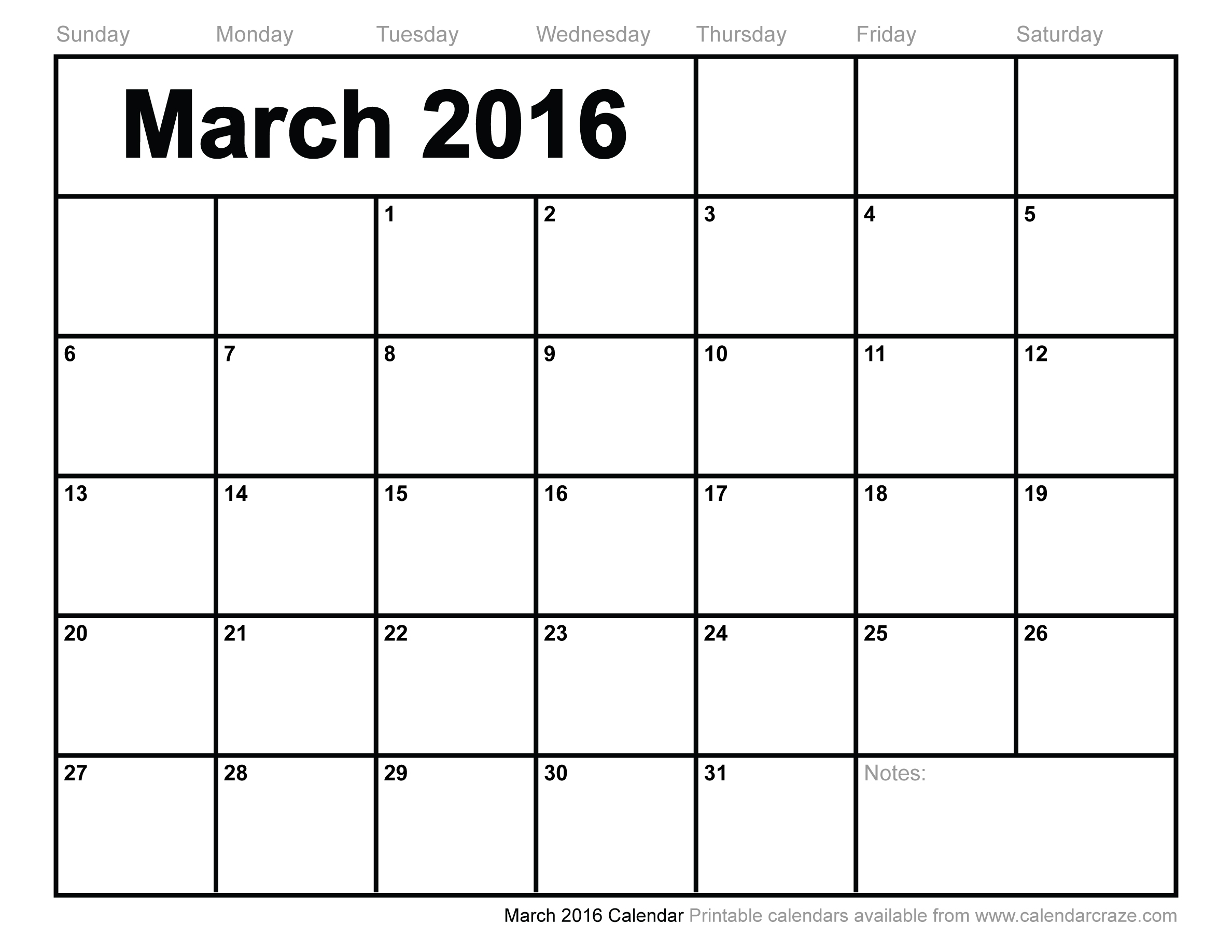 5 Images of Printable Calendar March 2016