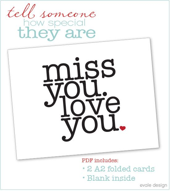 6 Images of I Miss You Cards Printable