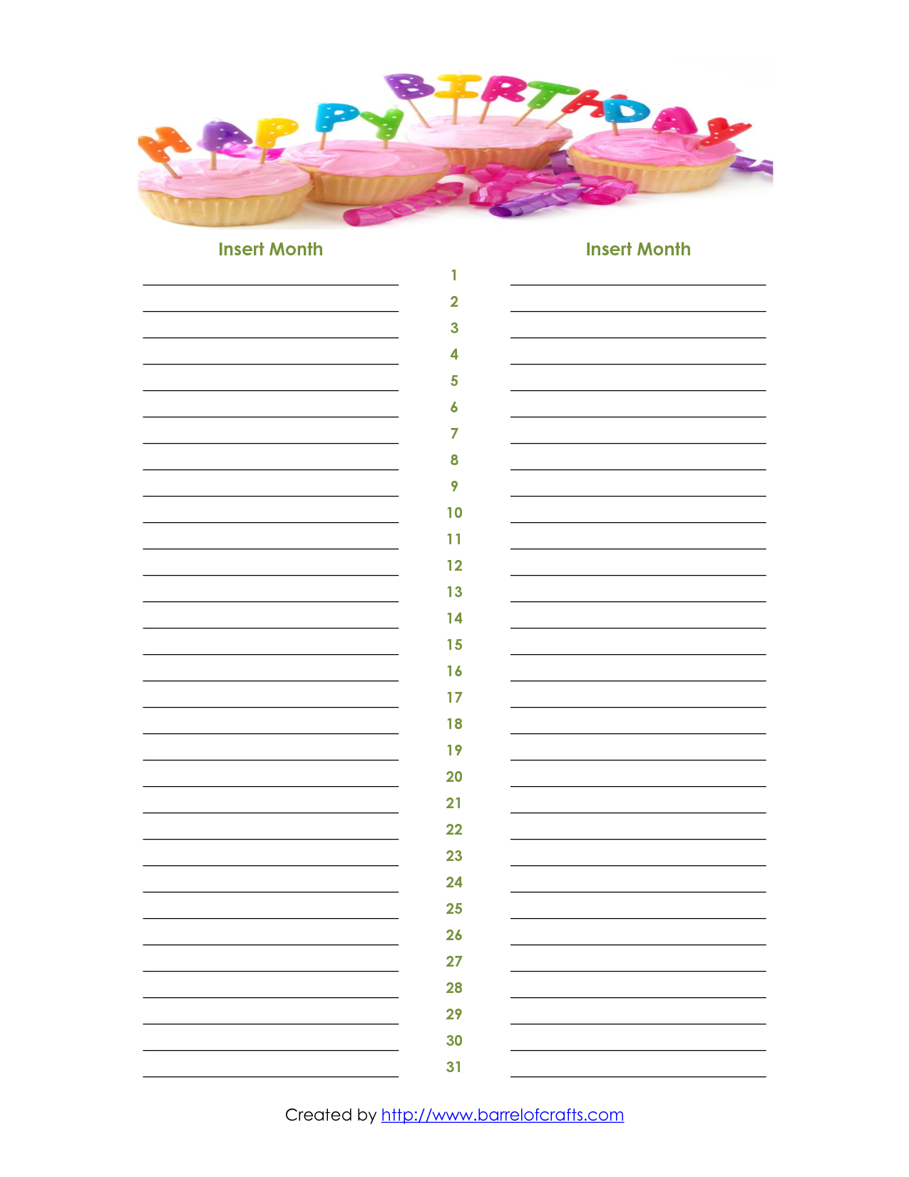 ... Birthday List Template and Monthly Birthday List Template / printablee