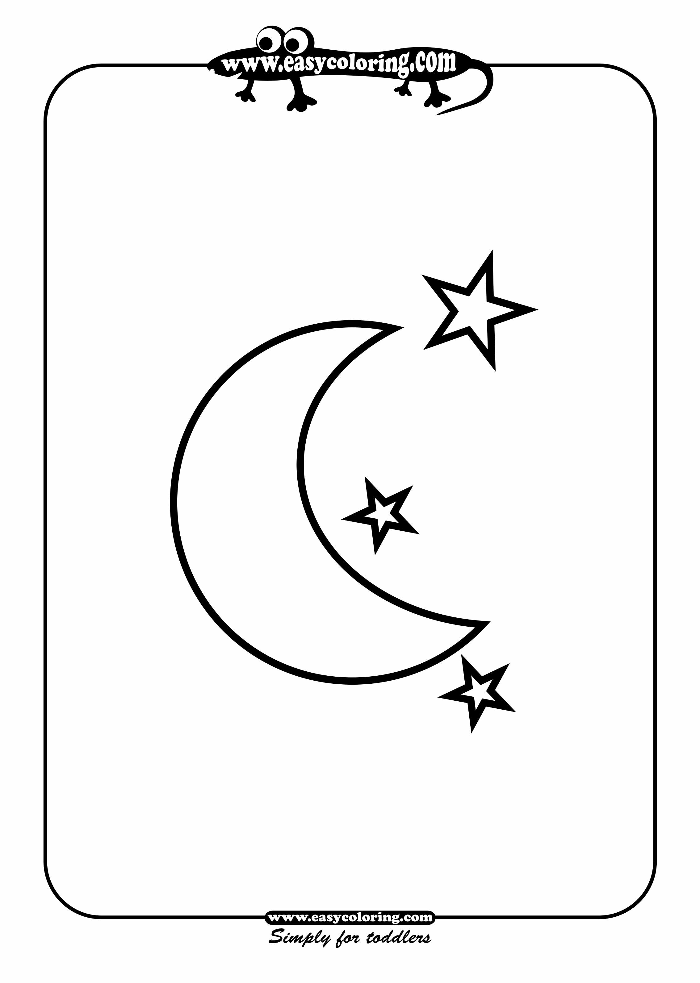 4 best images of half moon and stars printable crescent for Moon and stars coloring pages