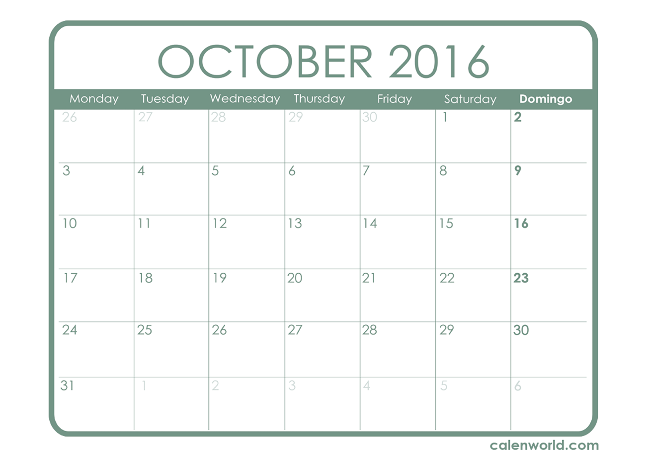 Free Printable Monthly Calendar October 2016 - January 2015 Calendar ...