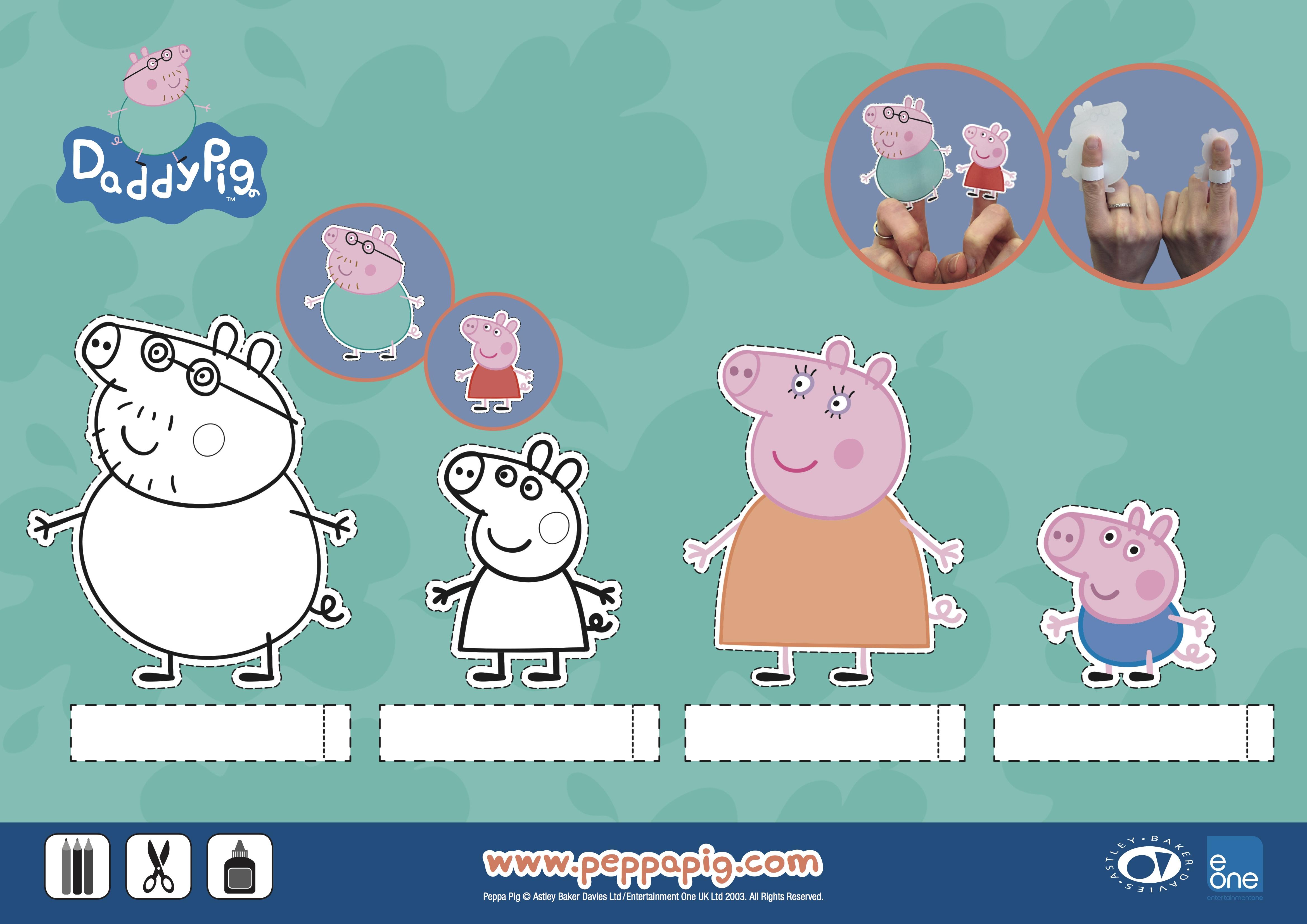 of Pig Finger Puppet Printable - Pig Finger Puppet, Peppa Pig Finger ...