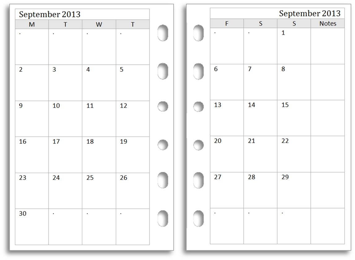 9 Images of Printable Filofax Calendar