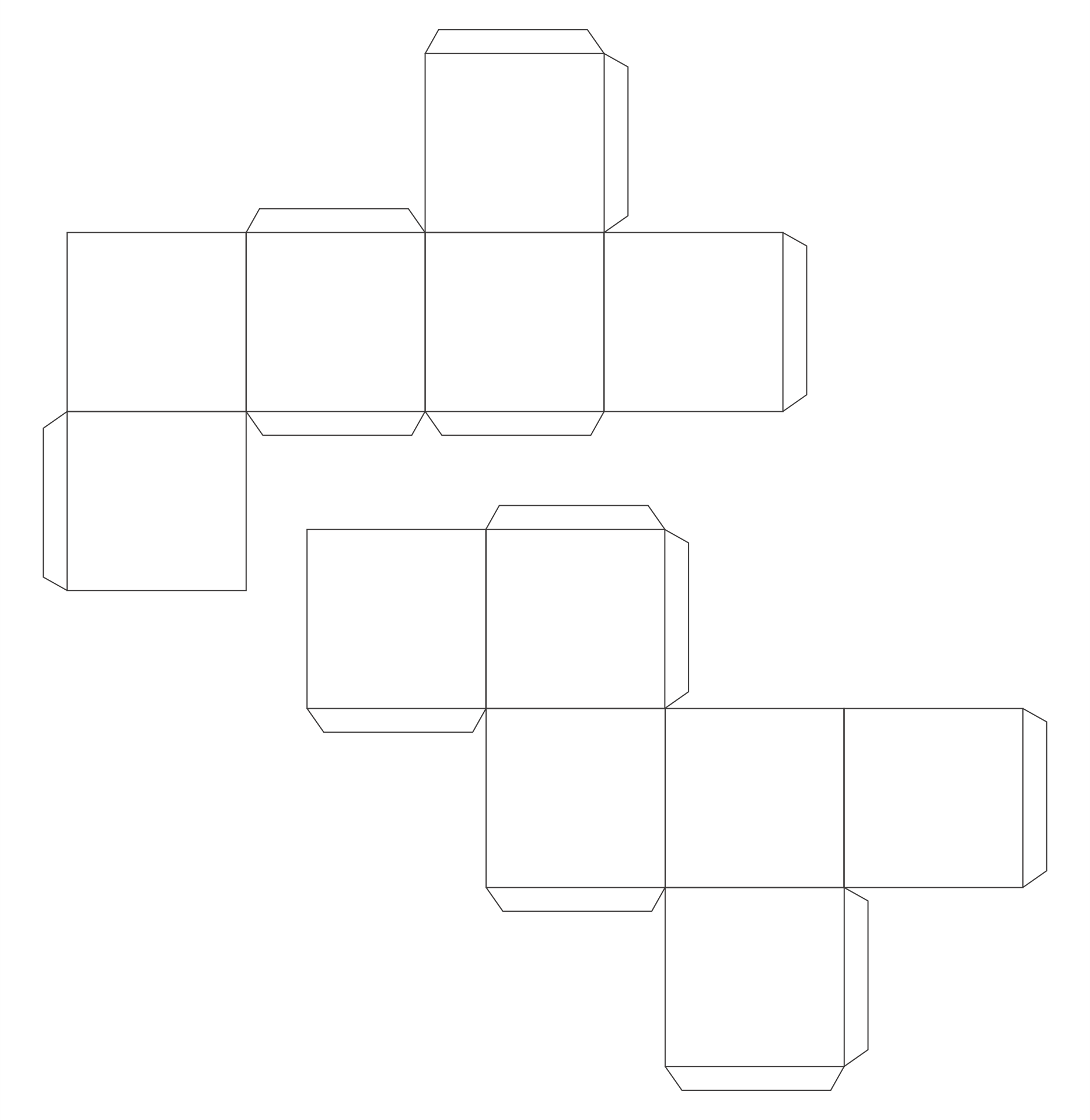 Printable 3D Shapes Cut Out Template