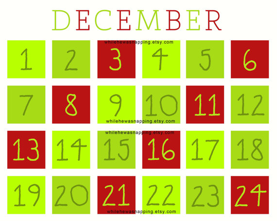 6 Images of Christmas Countdown Calendar Printable