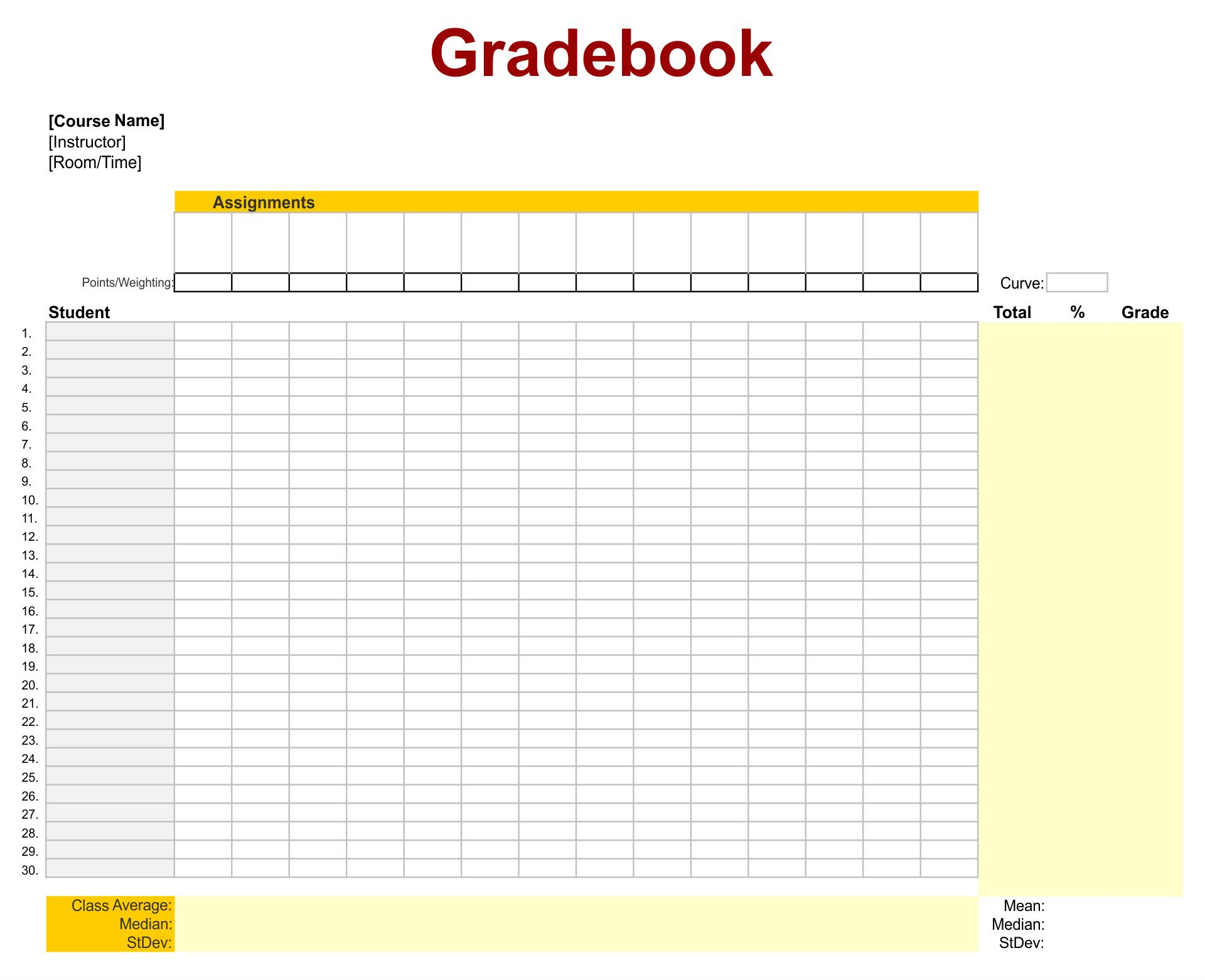 Printable Grade Book Template