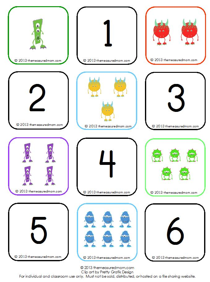 8 Images of Number Memory Game Printable