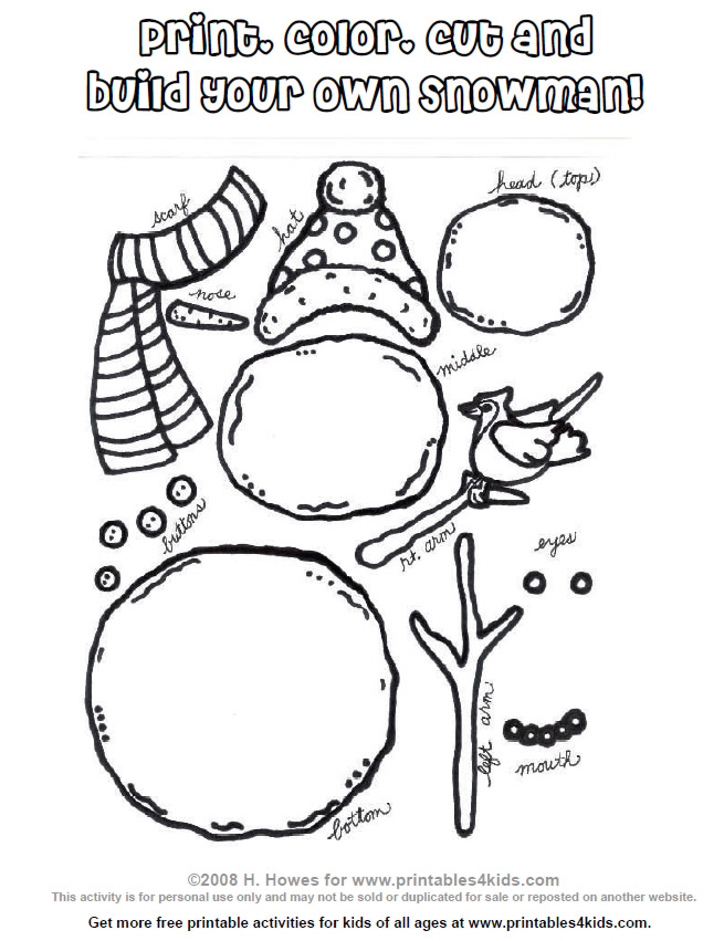 7 Images of Build Your Own Snowman Printables