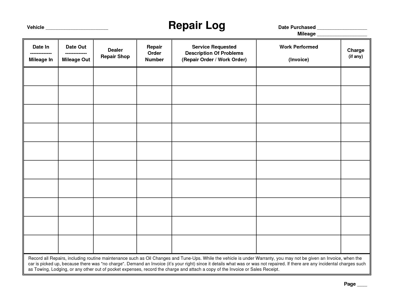 7 Best Images of Printable Vehicle Repair Log - Free ...