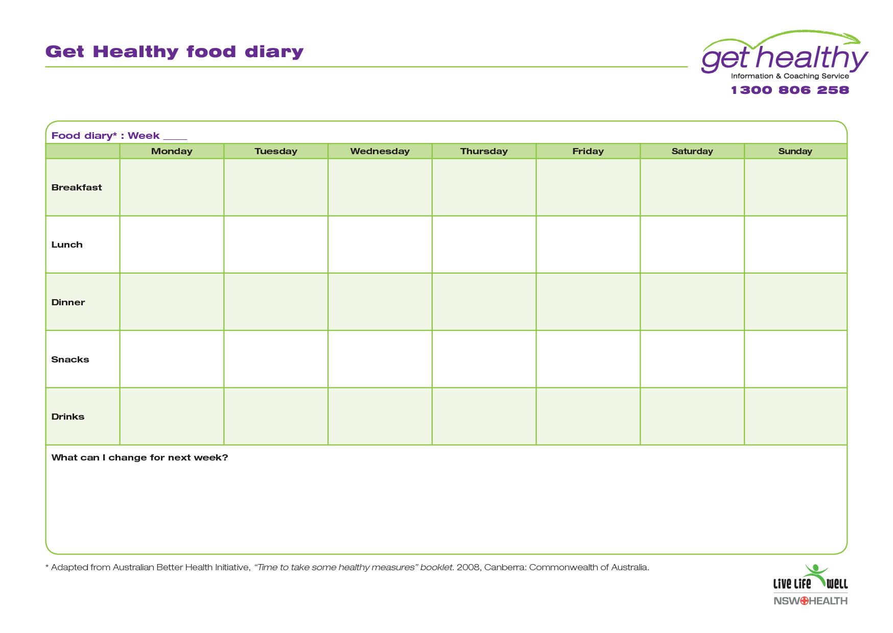 Printable Weekly Food Diary