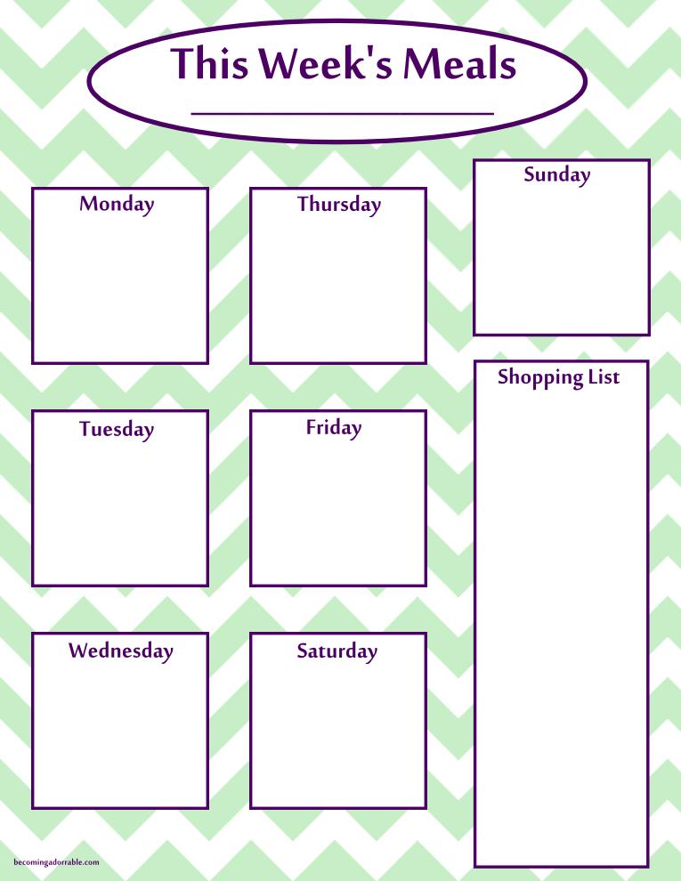 Printable Weekly Meal Plan