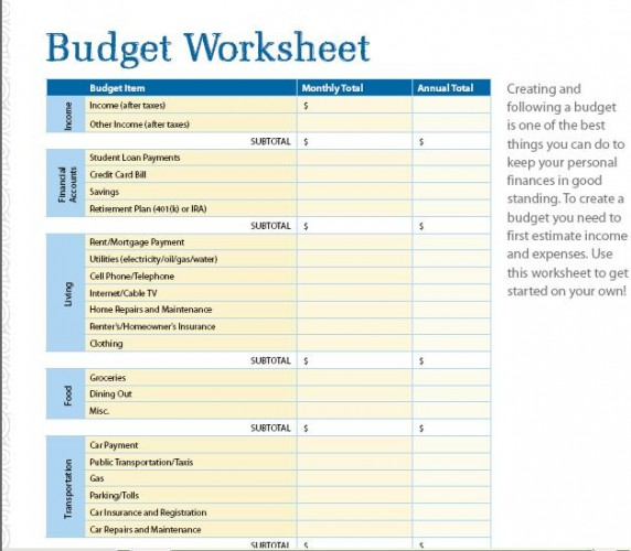 Simple Budget Worksheet Printable