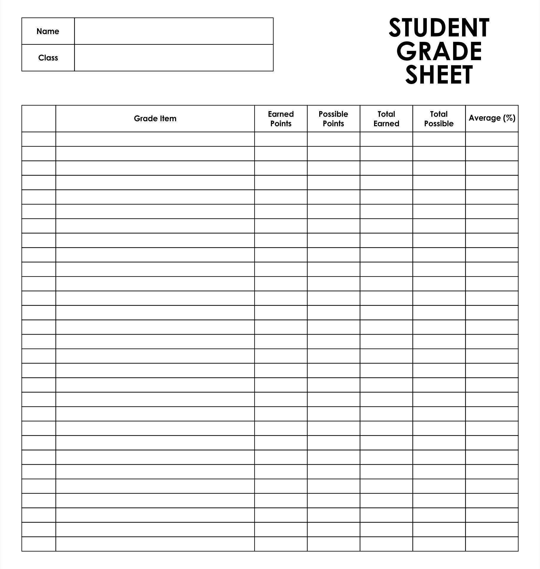 Student Grade Sheet Template