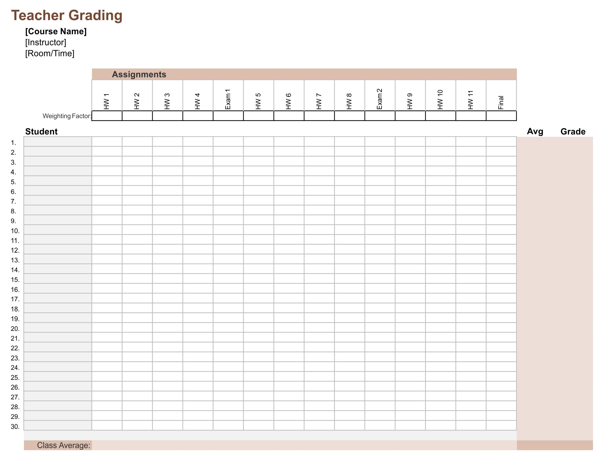 Teacher Grading Sheet