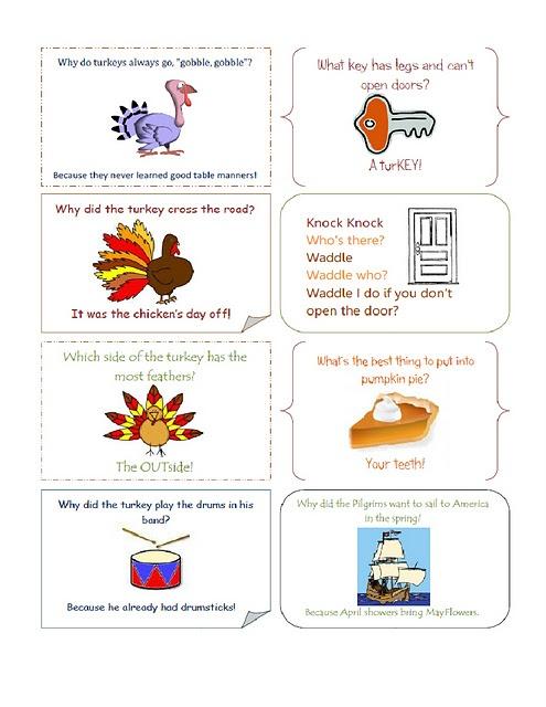 Thanksgiving Lunch Box Jokes Printable