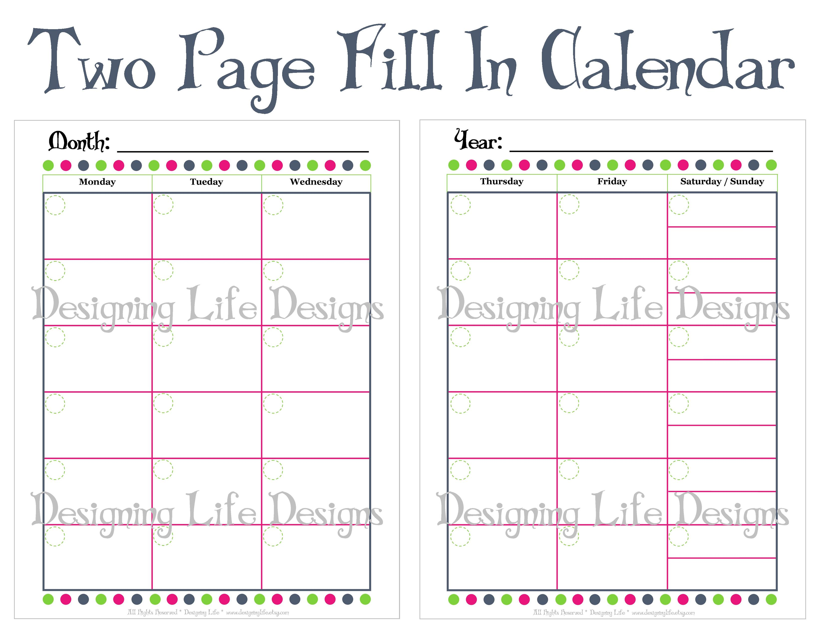 Calendar 2 2 for Two page monthly calendar template