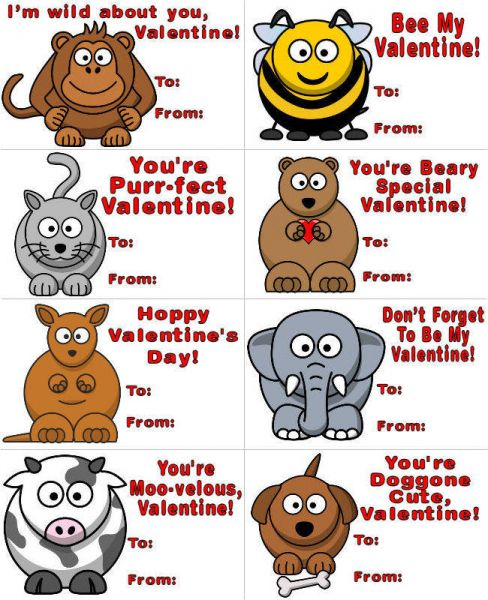 7 Images of Free Printable Animal Valentine Cards