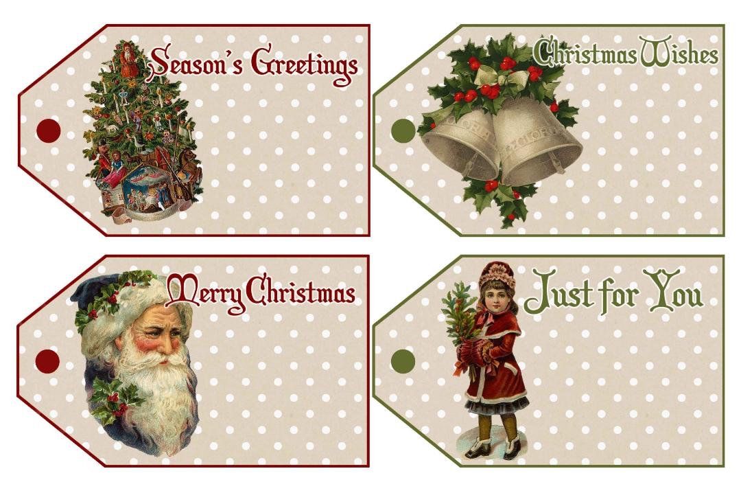 8 Images of Vintage Printable Christmas Name Tags