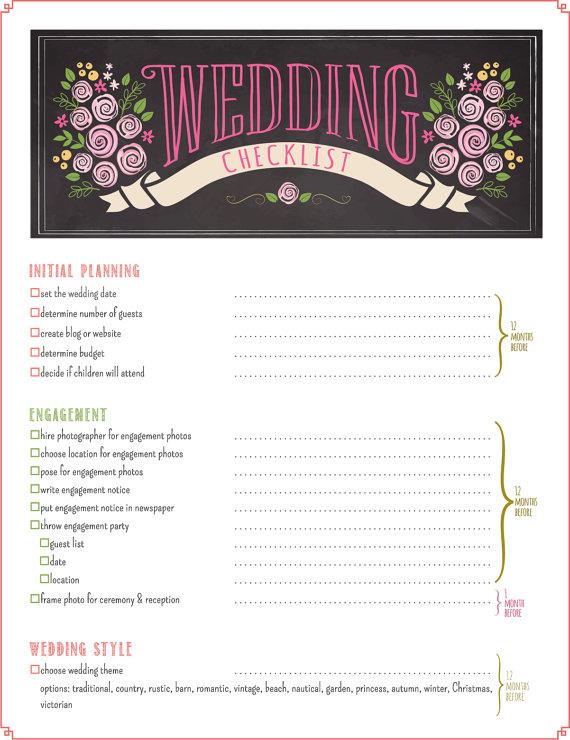 Printable Wedding Checklist Wedding Checklist Template Wedding