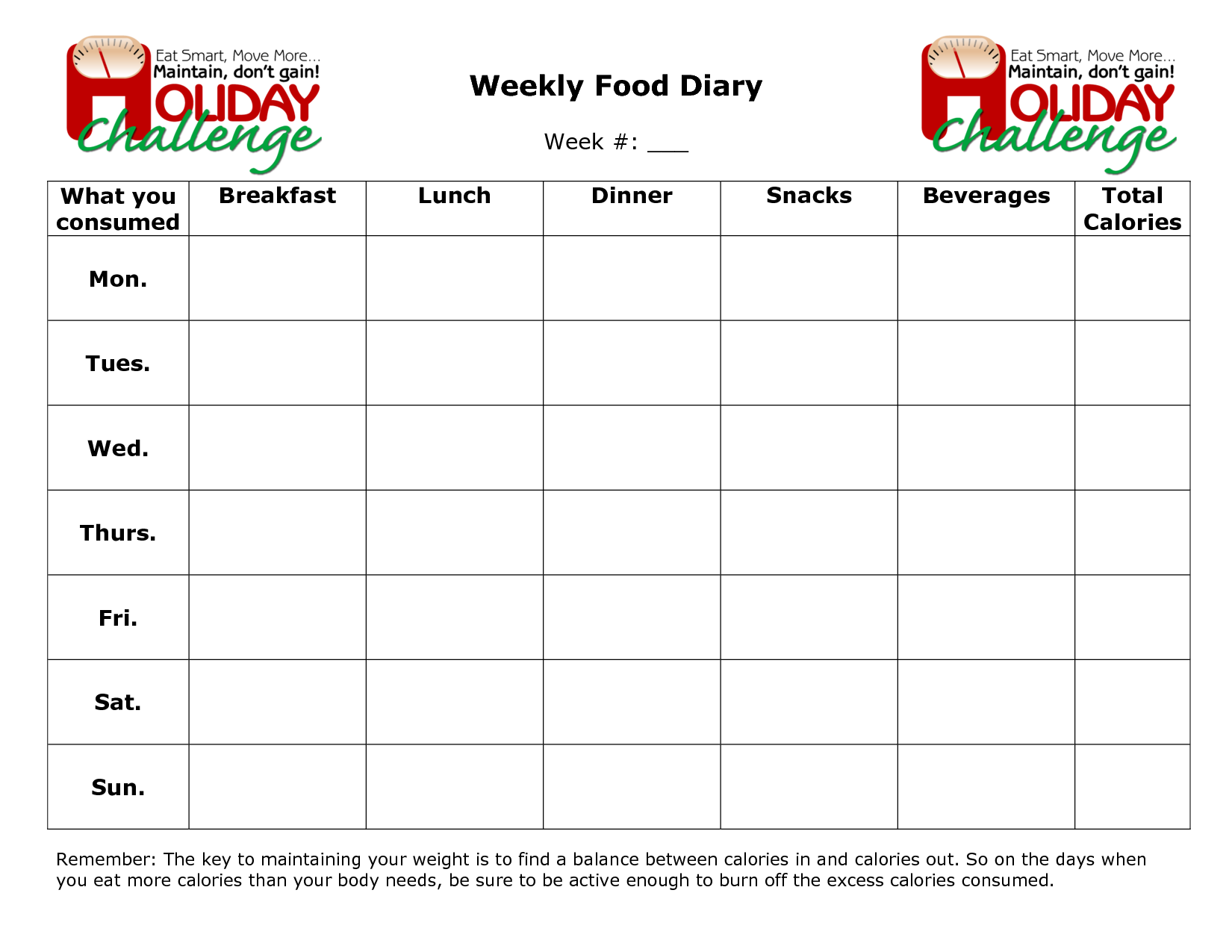 Weekly Food Diary Template Printable
