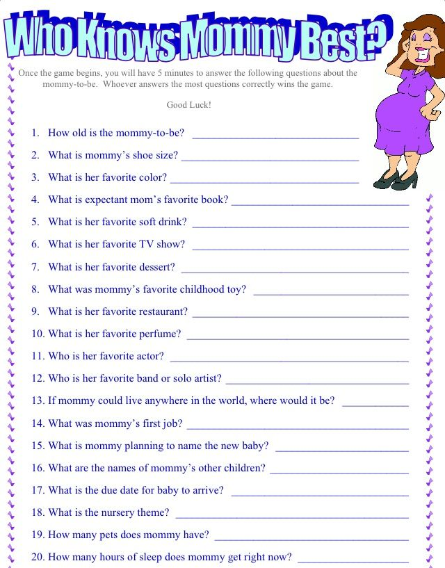 9 Images of Printable Who Knows Mommy Best Questions