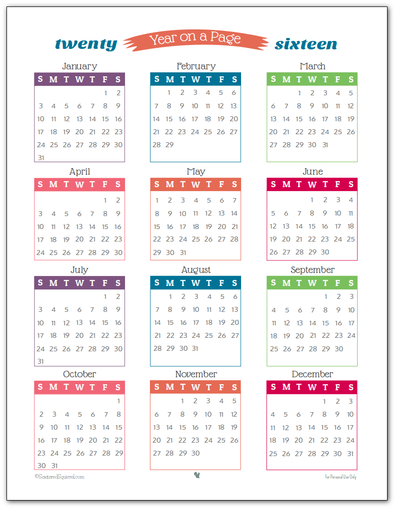 Year Calendar 2016 Printable One Page