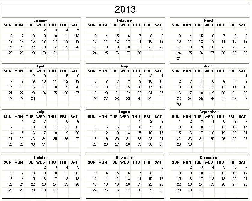 5 Images of 2013 Yearly Calendar Large Printable