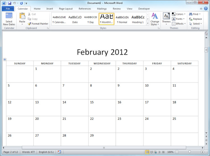 4 Images of Free Printable 12 Month Calendar 2012
