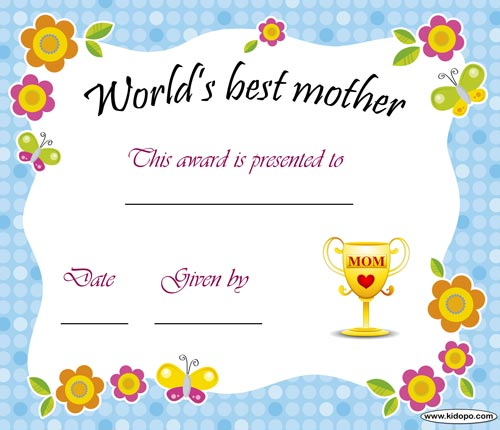 4 Images of Best Mom Award Certificate Printable