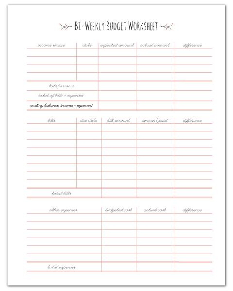 Bi-Weekly Budget Worksheet Printable