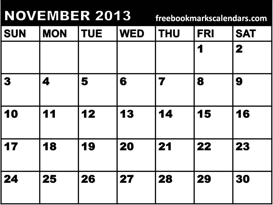 6 Images of November 2013 Monthly Calendar Printable