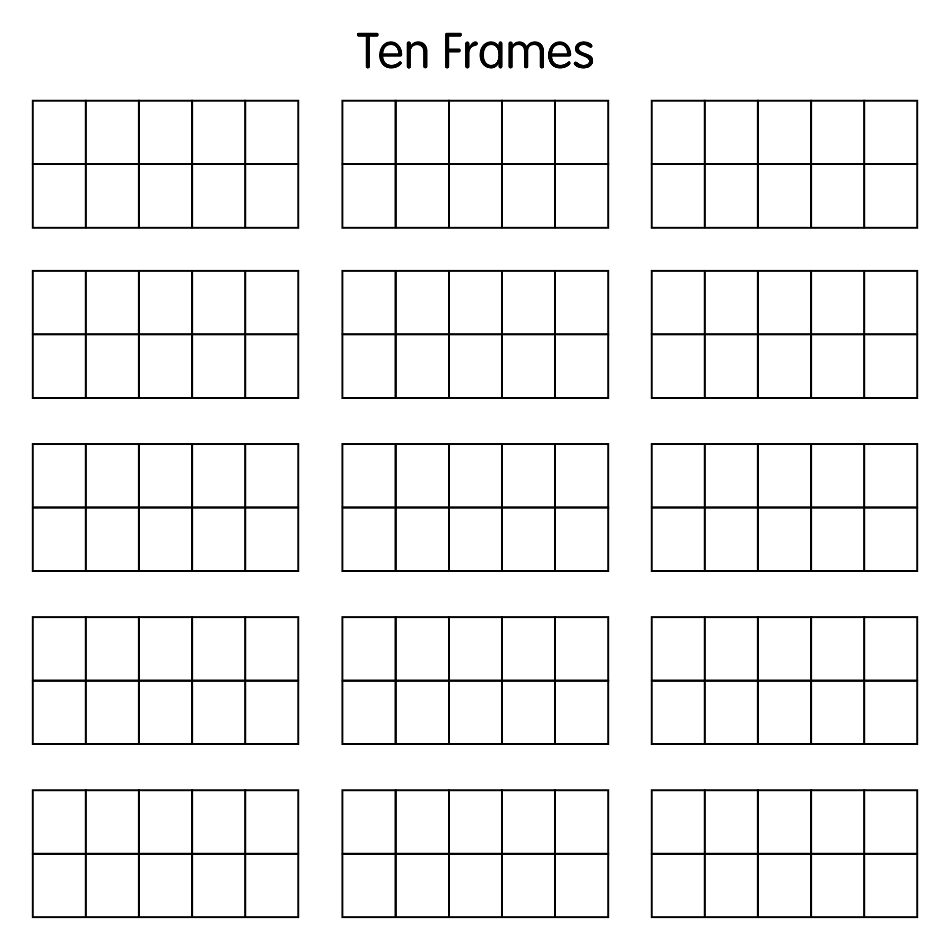 Blank Ten Frame Template