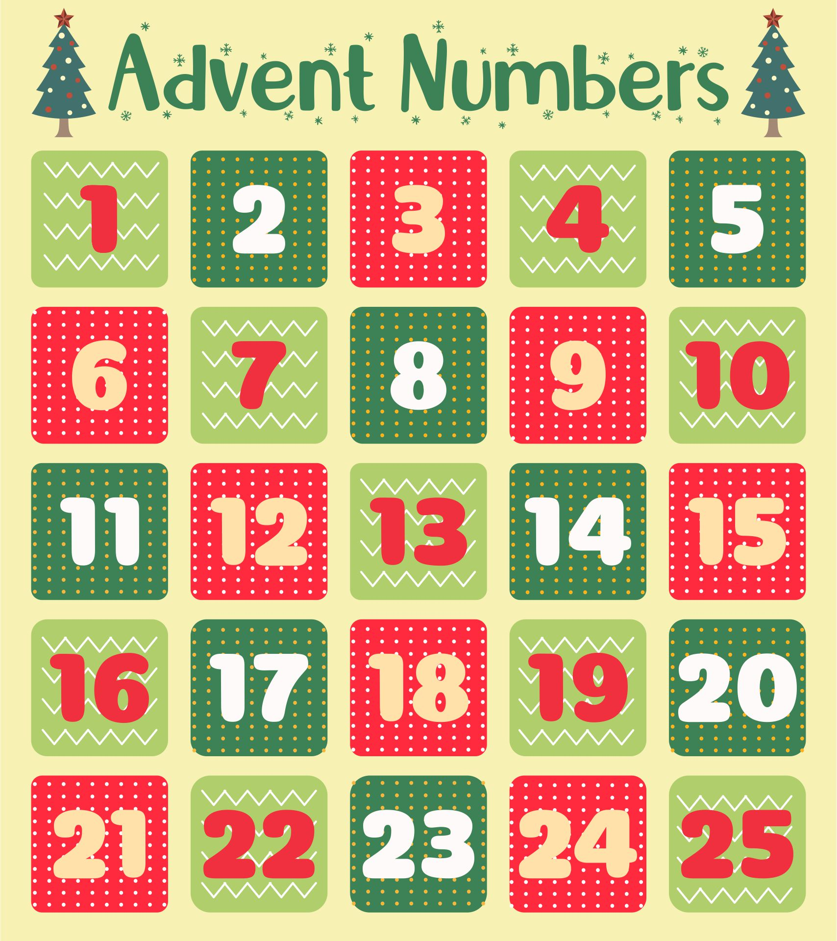 Christmas Advent Numbers