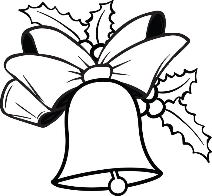 4 Images of Christmas Bells Printable Coloring Pages