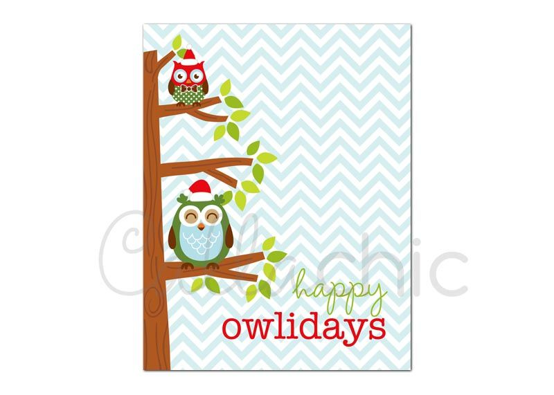 4 Images of Printable Christmas Thank You Cards Owls