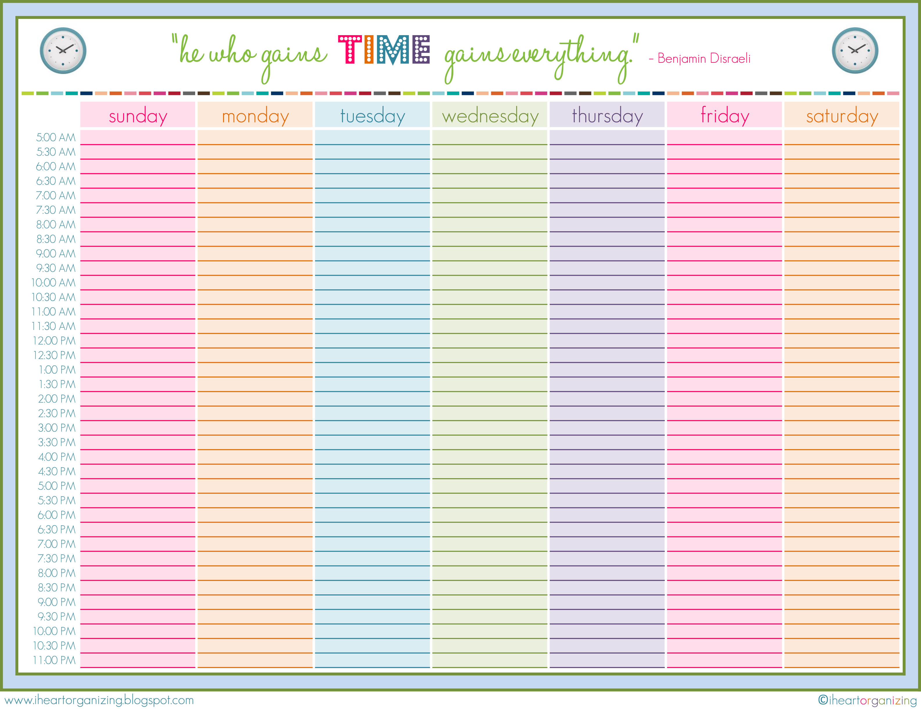 8 Images of Cute Weekly Schedule Template Printable