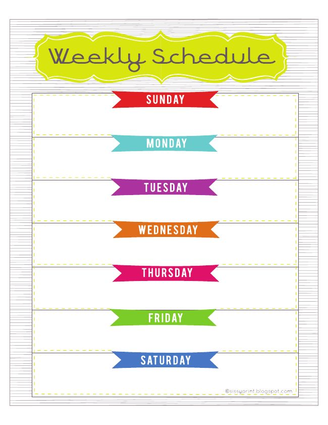 8 best images of cute weekly schedule template printable for Kids weekly schedule template
