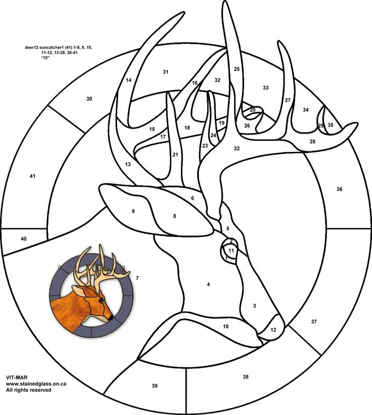 4 Images of Free Printable Stained Glass Patterns Deer