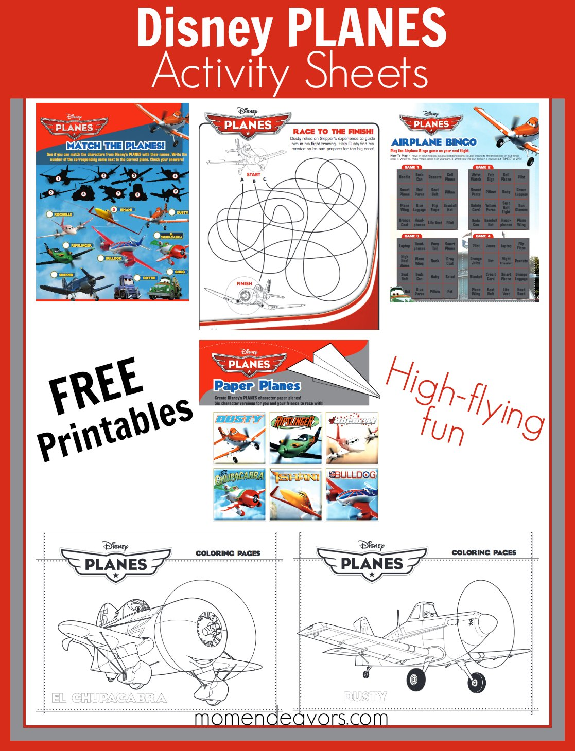 Disney Planes Activity Sheets