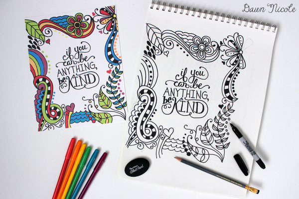 Free Adult Coloring Pages Be Kind