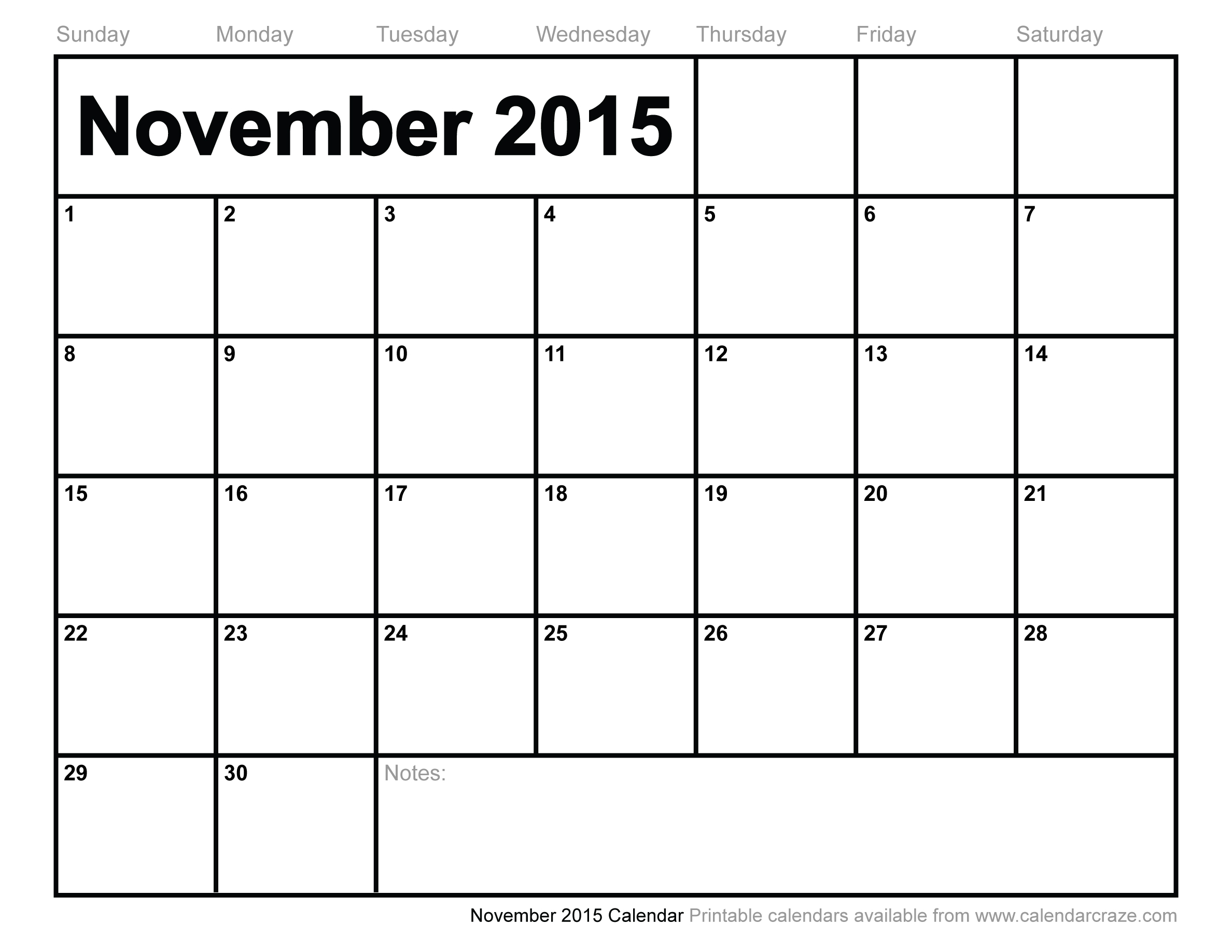 9 Images of November Calendar 2015 Printable