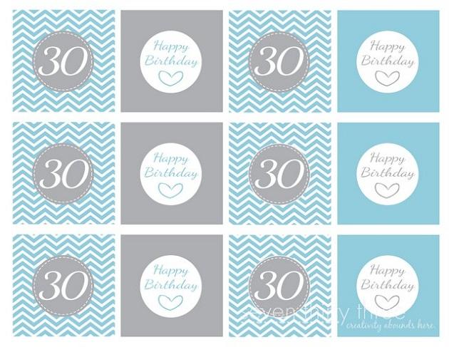 Free Printable 30th Birthday Cupcake Topper