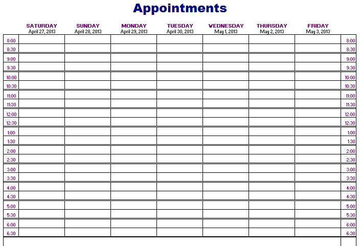 7 Images of Free Printable Appointment Schedule