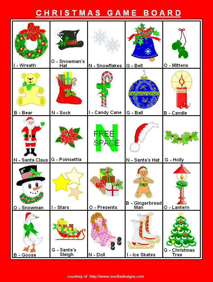 free christmas bingo games for adults