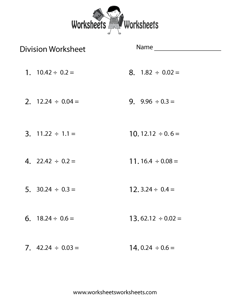 Printables Dividing Decimals Worksheet division with decimals worksheets free intrepidpath dividing for 5th grade the best and