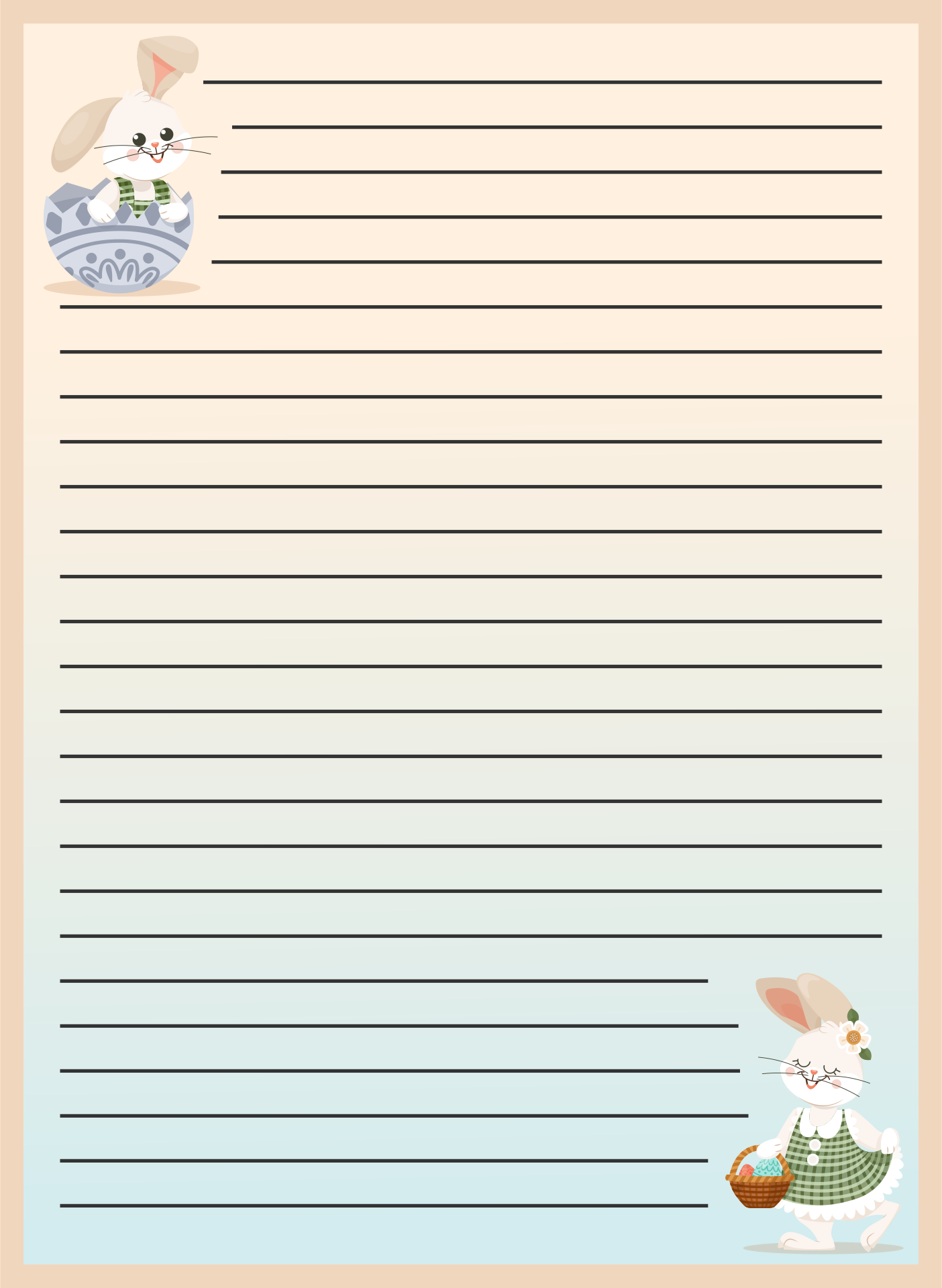 6 Images of Easter Bunny Free Printable Stationary