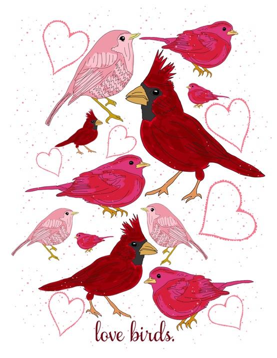 Free Printable Love Birds Art Print