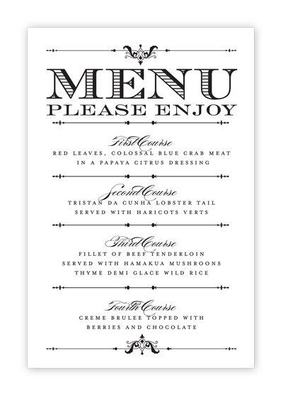 5 best images of free printable menu cards free for Easy menu templates free