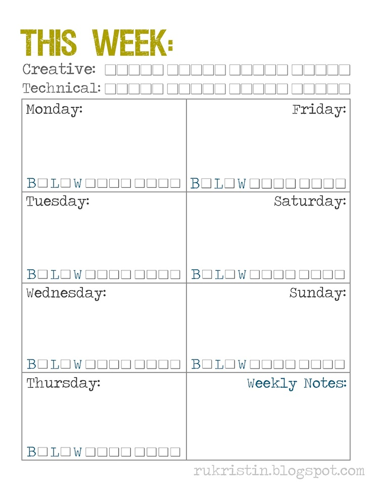 5 Images of Fun Weekly Calendar Printable